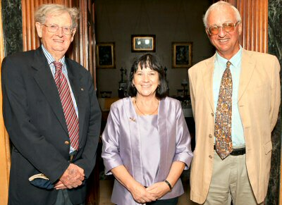 Emeritus Professor Brian Fletcher, Derelie Cherry and Lord Charles Howick after the book was officially launched.